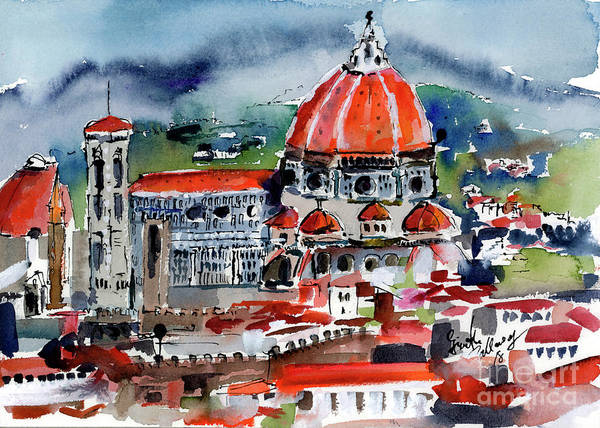 Painting - Florence Cathedral Watercolor by Ginette Callaway