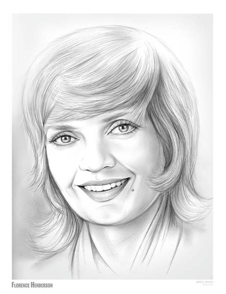 Actress Drawing - Florence Henderson by Greg Joens