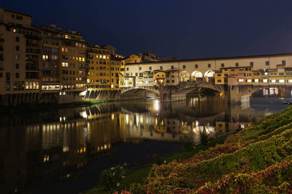 Photograph - Florence Italy Night Magic - A Glamorous Evening At Ponte Vecchio by Georgia Mizuleva