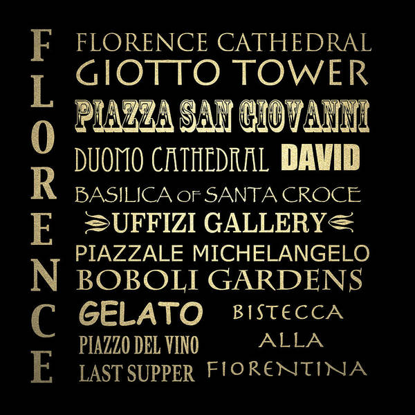Wall Art - Digital Art - Florence Italy Famous Landmarks by Patricia Lintner