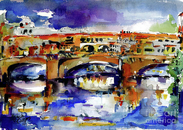 Painting - Florence Italy Ponte Vecchio Watercolor by Ginette Callaway