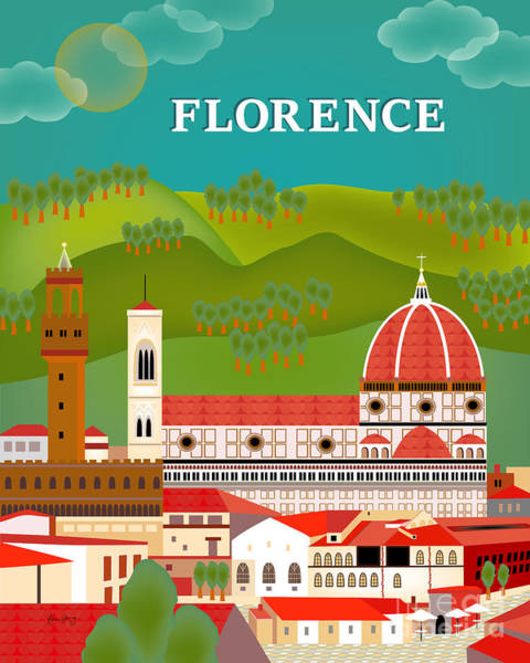 Duomo Di Firenze Wall Art - Digital Art - Florence Italy Vertical Scene by Karen Young