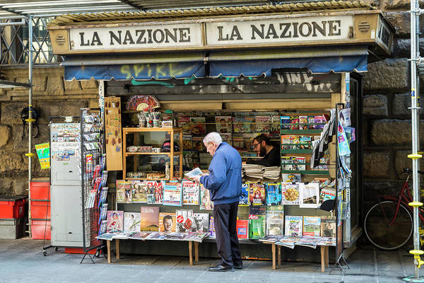 Tabloids Photograph - Florence Newsstand by Lindley Johnson