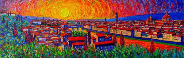 Painting - Florence Panorama At Sunset Impressionist Knife Oil Painting Italy Abstract City Ana Maria Edulescu by Ana Maria Edulescu