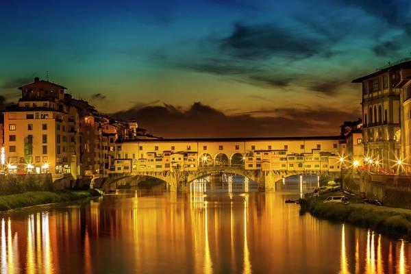 Blue Hour Photograph - Florence Ponte Vecchio At Sunset by Melanie Viola