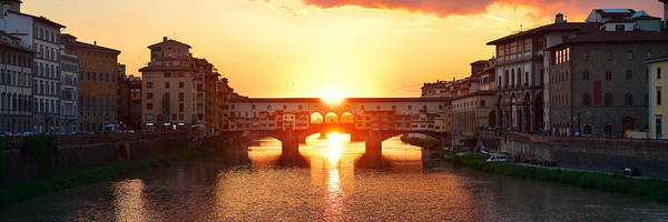Photograph - Florence Ponte Vecchio Panorama At Sunset by Songquan Deng