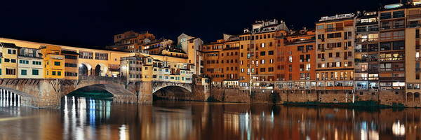 Photograph - Florence Ponte Vecchio Panorama Night by Songquan Deng