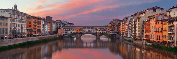 Photograph - Florence Ponte Vecchio Panorama Sunrise Reflection by Songquan Deng