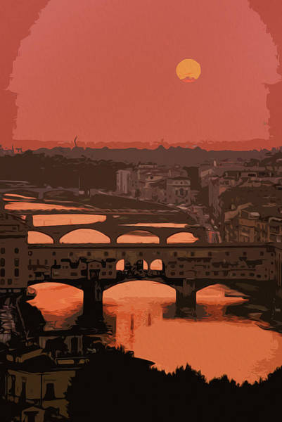 Painting - Florence, Romantic Sunset by Andrea Mazzocchetti