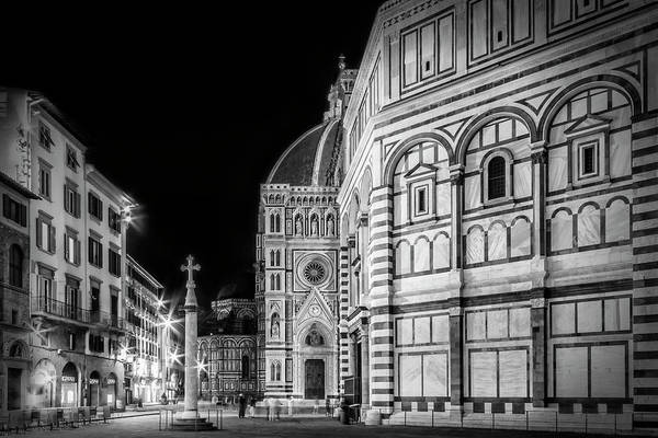 Ancient Architecture Photograph - Florence Saint Mary Of The Flowers And Baptistery In Monochrome by Melanie Viola
