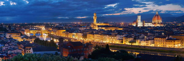 Photograph - Florence Skyline Night Panorama by Songquan Deng