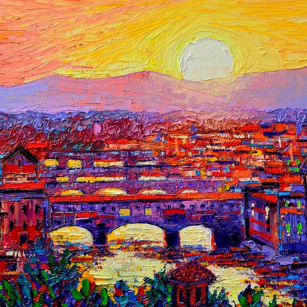 Painting - Florence Sunset Abstract Cityscape Modern Impressionist Palette Knife Painting By Ana Maria Edulescu by Ana Maria Edulescu