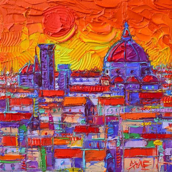 Painting - Florence Sunset Over Duomo Abstract Cityscape Impasto Palette Knife Oil Painting Ana Maria Edulescu by Ana Maria Edulescu