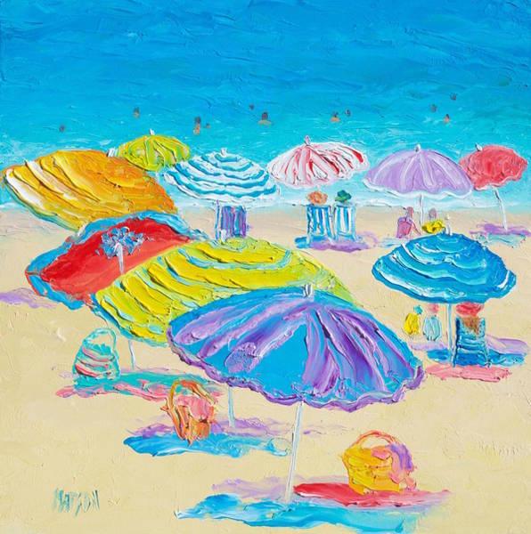 Bradenton Wall Art - Painting - Florida Beach Umbrellas by Jan Matson