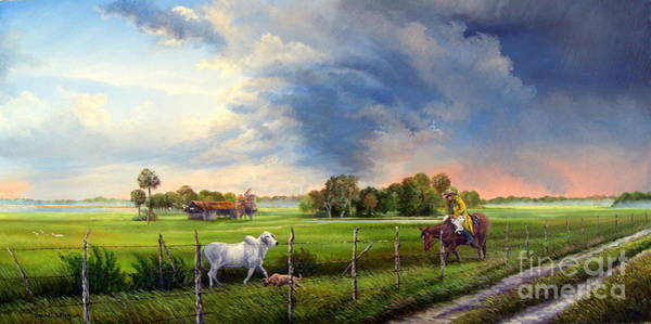 Silo Painting - Florida Cracker Cowboy - Spring Storms by Daniel Butler