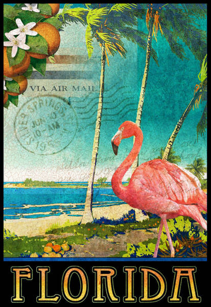 Flamingos Wall Art - Painting - Florida Flamingo Beach Poster by R christopher Vest