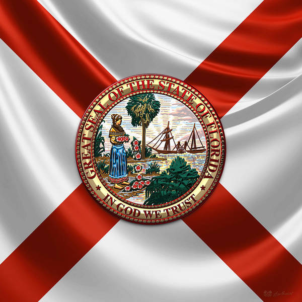Digital Art - Florida Great Seal Over Flag by Serge Averbukh