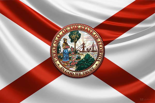 Digital Art - Florida Great Seal Over State Flag by Serge Averbukh