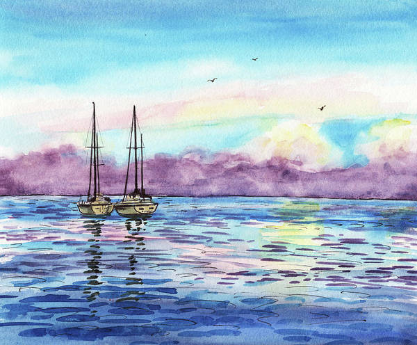 Impressionistic Sailboats Painting - Florida Keys Islamorada Shore by Irina Sztukowski