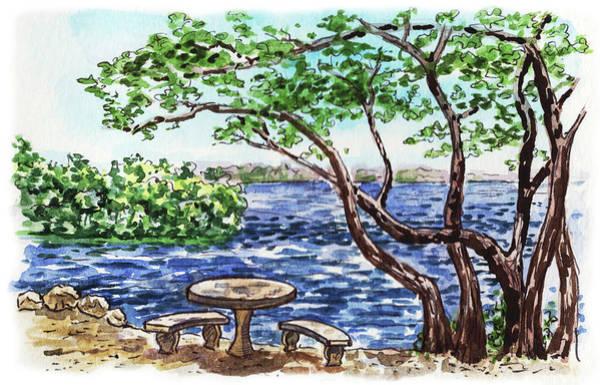 Sketching Painting - Florida Keys John Pennekamp Park Shore by Irina Sztukowski
