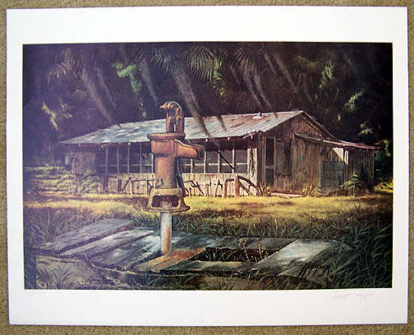 Wall Art - Painting - Florida Shack And Pump by Frank Hopper