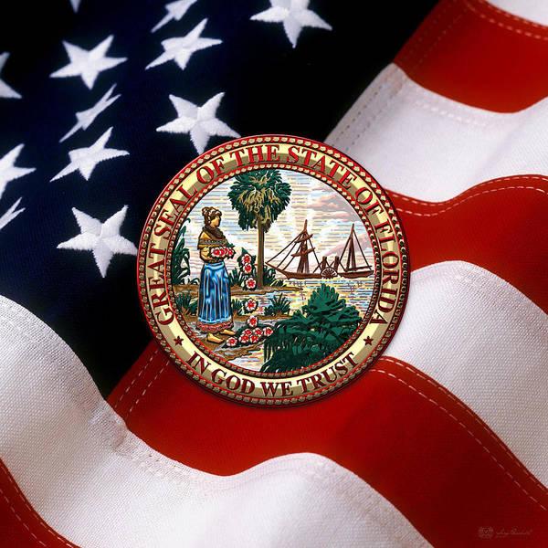 Digital Art - Florida State Seal Over U.s. Flag by Serge Averbukh