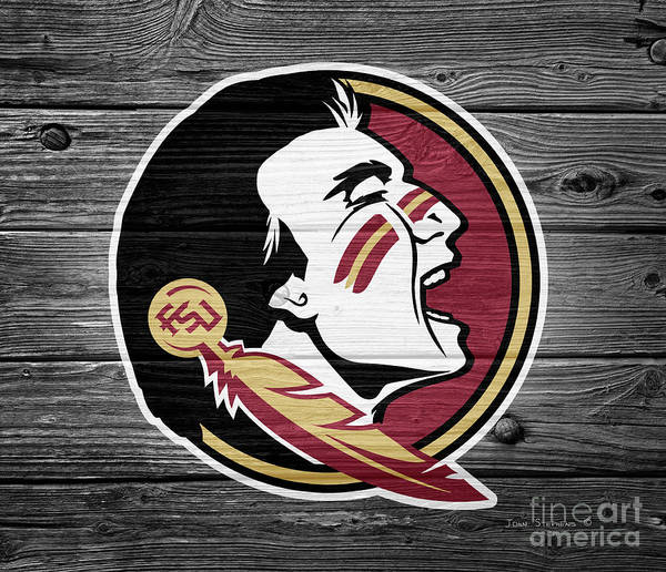 Wall Art - Photograph - Florida State University Seminoles Logo On Weathered Wood by John Stephens