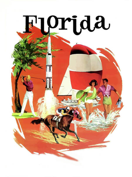 Beach Collage Painting - Florida, Vintage Travel Poster by Long Shot