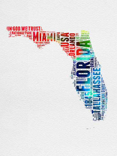 Wall Art - Digital Art - Florida Watercolor Word Cloud Mao by Naxart Studio