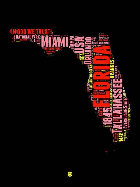 Miami Digital Art - Florida Word Cloud Map 1 by Naxart Studio