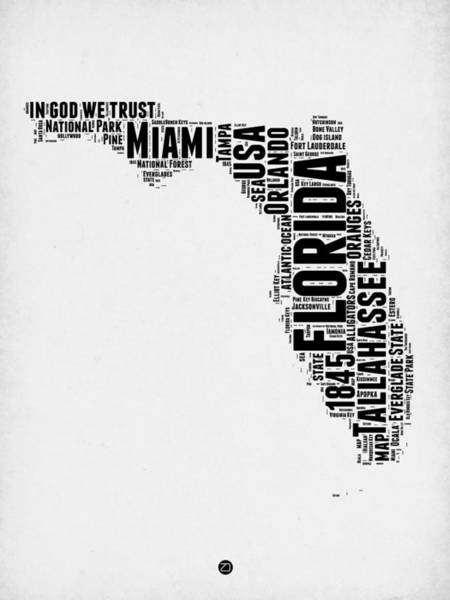 Miami Digital Art - Florida Word Cloud Map 2 by Naxart Studio
