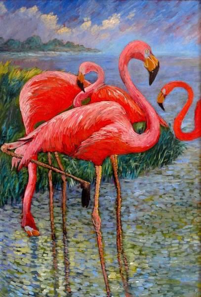 Tacoma Painting - Florida's Free Flamingo's by Charles Munn