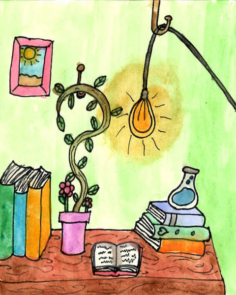 Inking Painting - Florist Office by Sindy Original