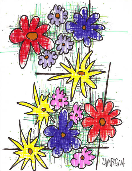 Drawing - Florists Dozen by Teddy Campagna