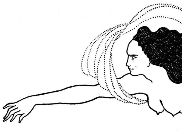 Nude Woman Drawing - Flosshilde by Aubrey Beardsley