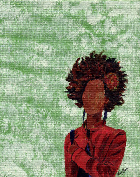 Faceless Painting - Flower Afro by Unicia Buster