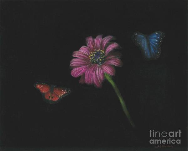 Dark Pink Drawing - Flower And Butterflys by Lara Kittelson