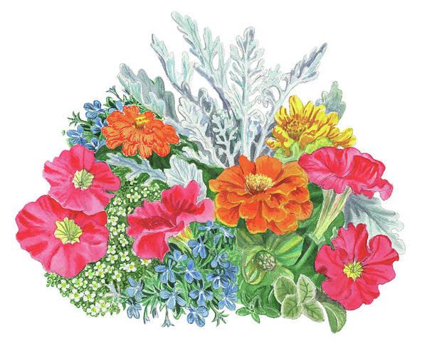 Painting - Flower Arrangement With Petunia Marigold And Sweet Allysum  by Irina Sztukowski