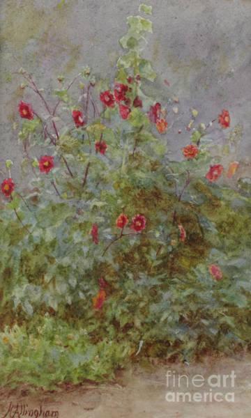 Wall Art - Painting - Flower Border, Hollyhock And Dahlias  by Helen Allingham