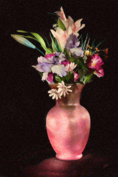 Painting - Flower Bouquet In Pink Vase by Dean Wittle