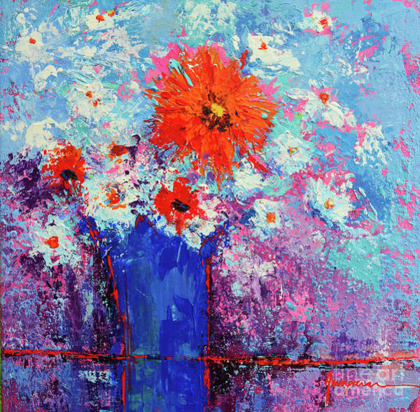 Painting - Flower Bouquet Modern Impressionistic Art Palette Knife Work by Patricia Awapara