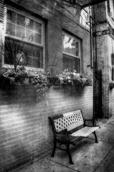 Photograph - Flower Boxes And Iron Bench In Boston North End by Joann Vitali