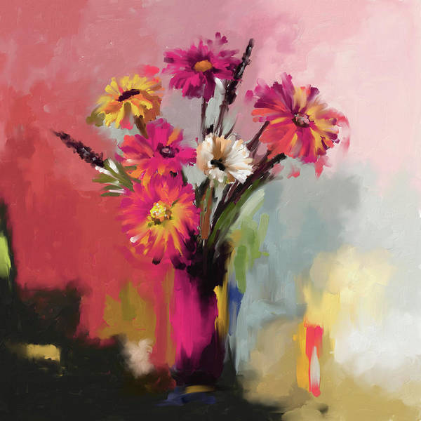 Sun Set Painting - Flower Bunch 409 IIi by Mawra Tahreem