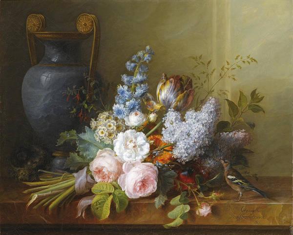 Wall Art - Painting - Flower Bunch With A Bird Nest by Cornelis van Spaendonck