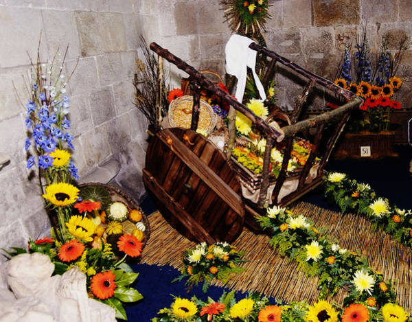 Cartmel Priory Photograph - Flower Cart by Peter Jenkins
