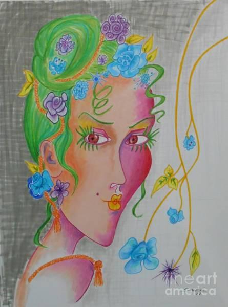 Hairdo Drawing - Flower Child by Jayne Somogy