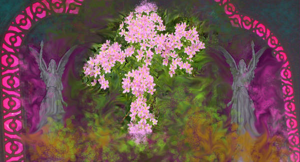 Mixed Media - Flower Cross Fancy by Anne Cameron Cutri