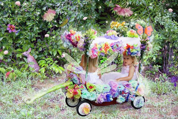 Digital Art - Flower Fairies In A Flower Mobile by Lise Winne