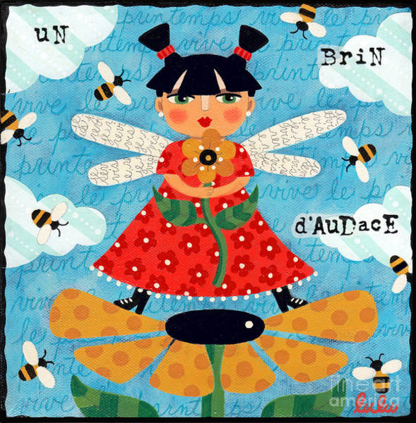 Faerie Painting - Flower Fairy With Bees by LuLu Mypinkturtle