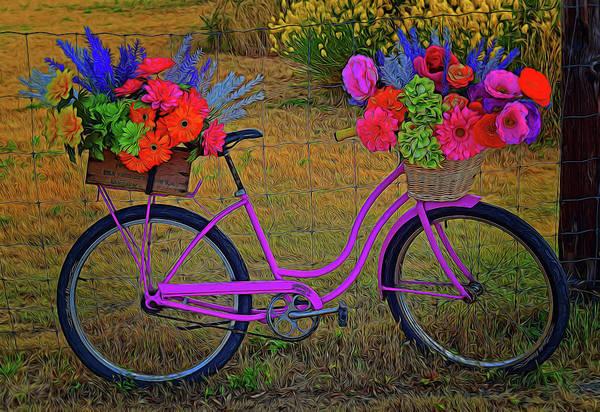 Digital Art - Flower Festooned Bicycle by Richard Farrington